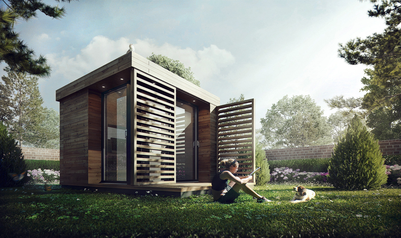 3D Visualization Garden Office Architectural Visualization
