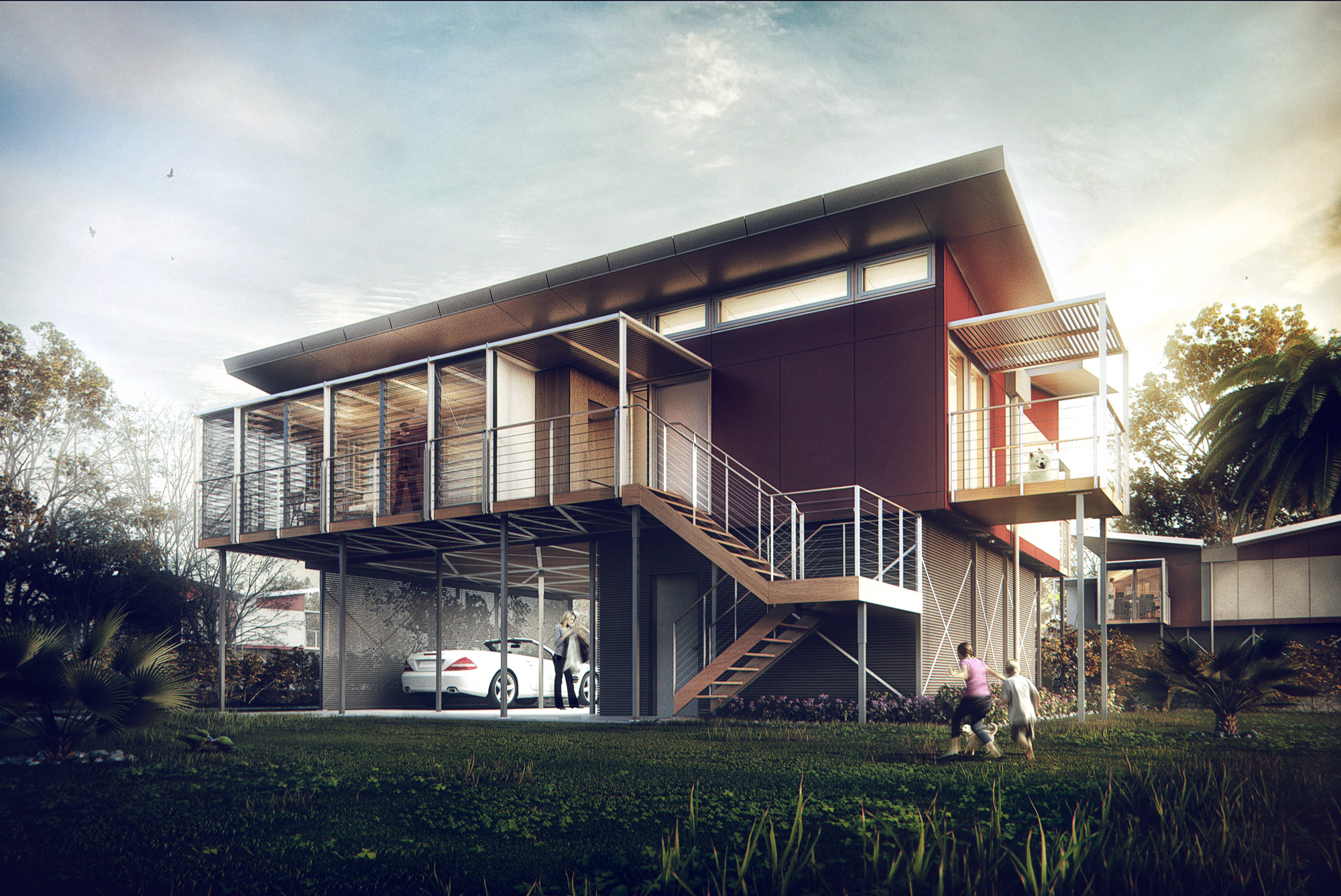 3d visualization kiribati house architectural for Architecture 3d