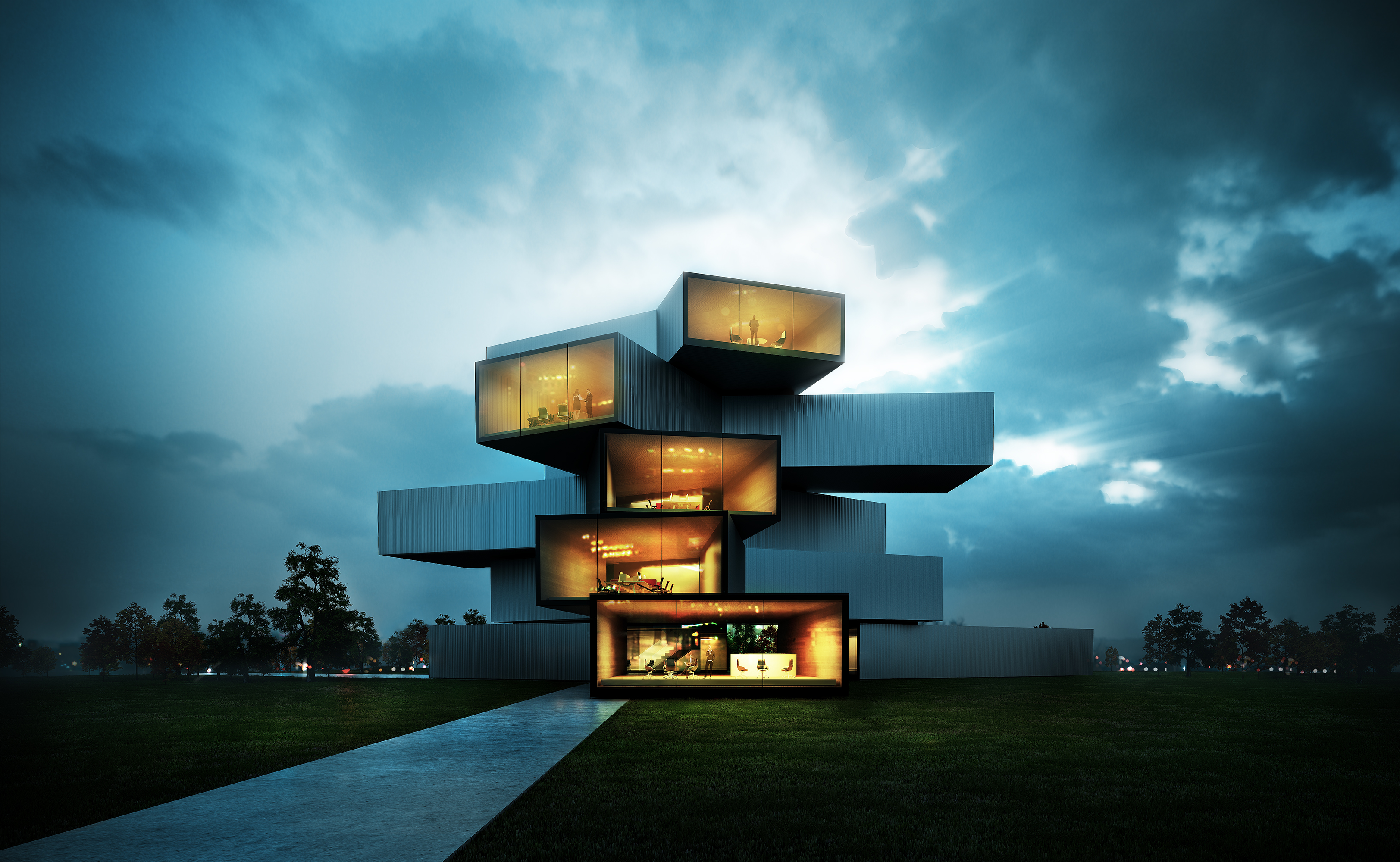 3d architecture visualization project 3d renders arch Contemporary housing